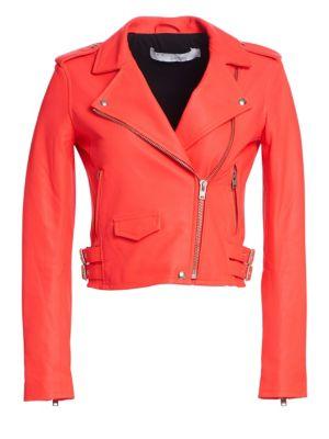 Ashville Leather Moto Jacket, Fluo Orange