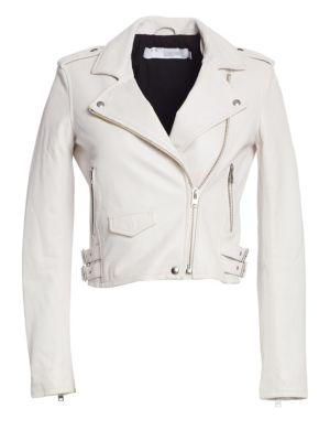 Ashville Leather Moto Jacket, Pearly White