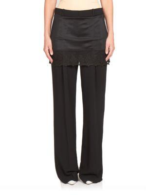 Lace Skirt Overlay Wide-Leg Pants plus size,  plus size fashion plus size appare