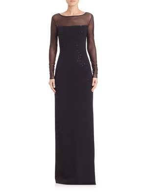 Caviar Collection Sequined Milano Knit Illusion Gown
