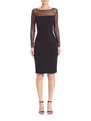 Caviar Collection Milano Sequined Illusion Sheath Dress