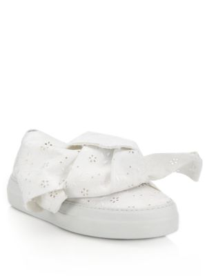 Macrame Eyelet Bow Slip-On Sneakers