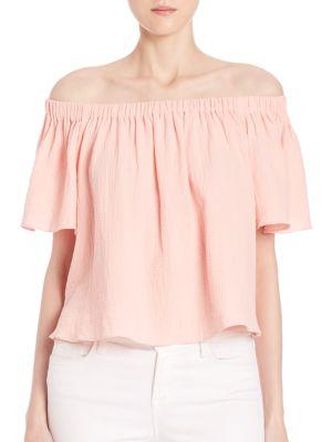 Off-Shoulder Cotton Gauze Top plus size,  plus size fashion plus size appare