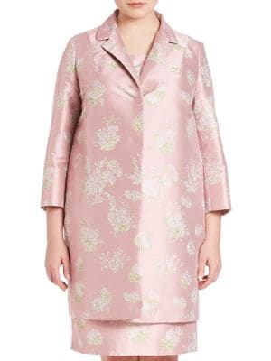 Natascia Printed Jacquard Coat plus size,  plus size fashion plus size appare