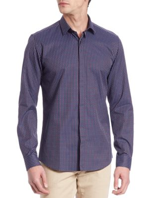 Jacquard Casual Button-Down Shirt