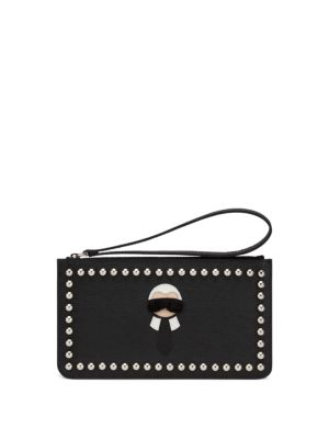 Karlito Studded Mink Fur & Saffiano Leather Zip Pouch