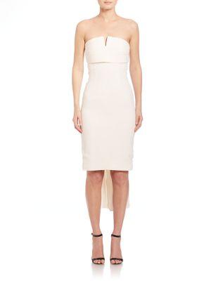 Strapless Mini Back-Pleat Dress