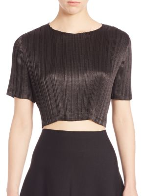 Pleated Lace-Inset Cropped Top