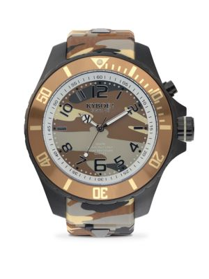 Stainless Steel Desert Camouflage Silicone Strap Watch