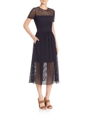 Net Overlay Midi Dress