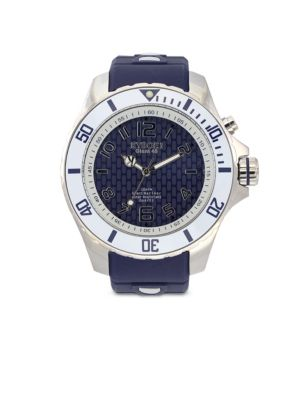 Marine Blue Silicone and Stainless Steel Watch
