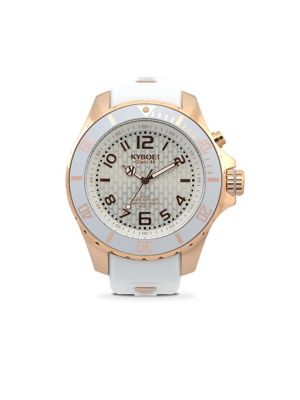 Power Rose Goldtone Stainless Steel & White Silicone Strap Watch/48MM