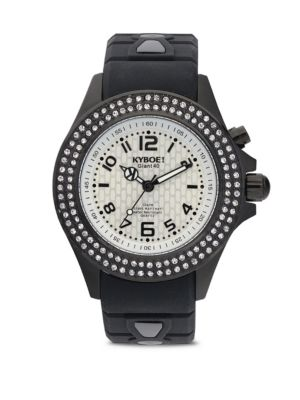 Silicone, Pavé Crystal Stainless Steel Strap Watch