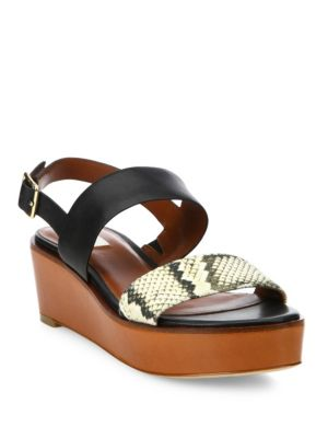 cole haan female  cambon snakeembossed leather wedge sandals