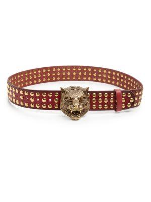 gucci female 189207 feline studded leather belt