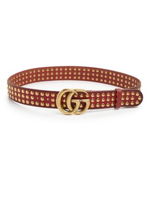 gucci female 124866 double g studded leather belt