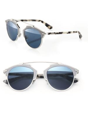 So Real 48MM Leather-Trim Metal Sunglasses