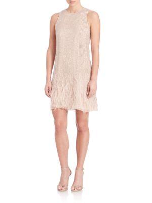 Allegra Embellished Feather-Hem Dress