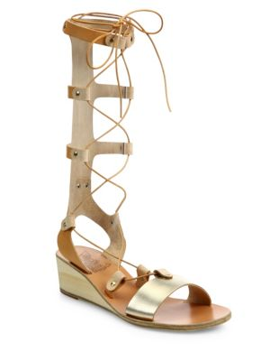 ancient greek sandals female 124022 thebes metallic leather tall gladiator wedge sandals
