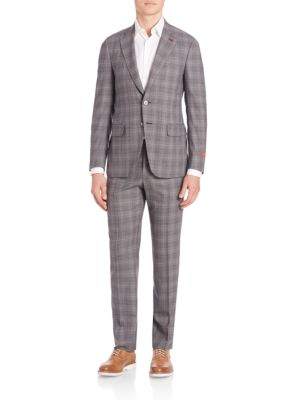 Plaid Two-Button Wool Suit