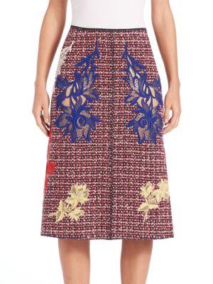 marc jacobs female 250960 embroidered tweed aline skirt