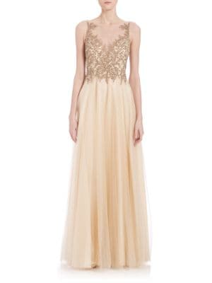 Illusion Beaded Tulle-Skirt Gown