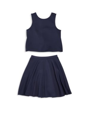 Girls TwoPiece Scuba Top  Skirt Set