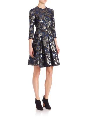 Lurex Jacquard A-Line Coat Dress