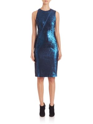 Zip-Detail Sequin Sheath Dress