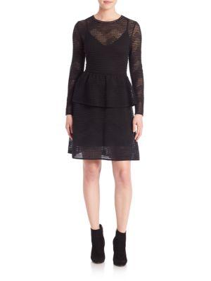 Rib Stitched Long Sleeve Dress