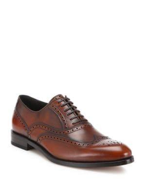 Gerard Wingtip Brogue Calfskin Leather Dress Shoes
