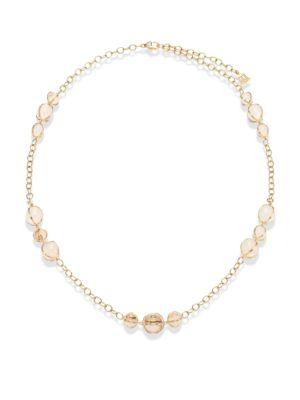 Amulet Diamond, Rock Crystal & 18K Yellow Gold Station Necklace