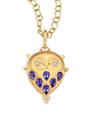 Tanzanite, Diamond & 18K Yellow Gold Owl Locket