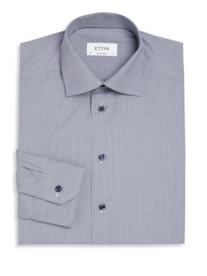 Navy Microcheck Button-Up