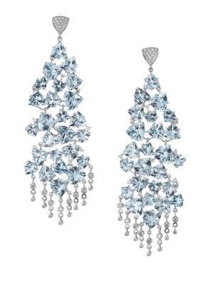 HUEB 18K White Gold, Aquamarine & Diamond Chandelier Earrings