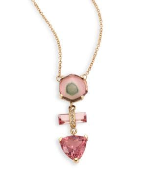 14K Yellow Gold Pink Tourmaline Necklace