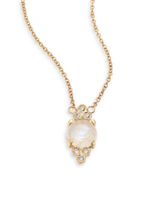Diamond, Moonstone & 14K Yellow Gold Pendant Necklace