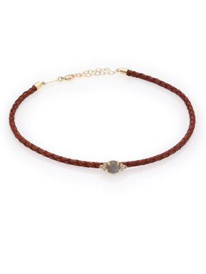 Diamond, Labradorite, 14K Yellow Gold & Leather Choker Necklace