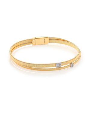 Masai Diamond, 18K Yellow Gold & 18K White Gold Two-Row Bracelet