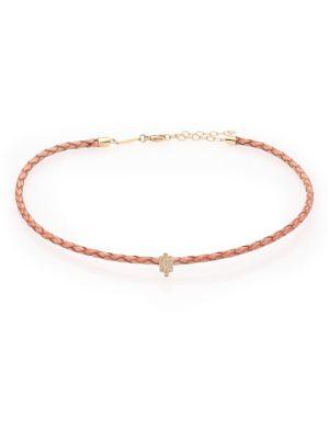 Diamond, 14K Yellow Gold & Leather Choker Necklace