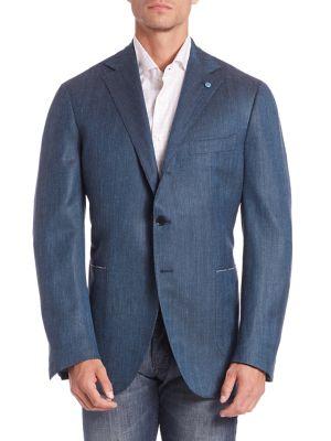 Micro Herringbone Wool & Silk Blend Blazer