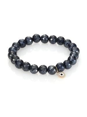 SYDNEY EVAN Diamond, Black Spinel & 14K Yellow Gold Evil Eye Disc Beaded Stretch Bracelet