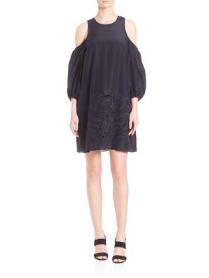 Cold-Shoulder Silk blend Dress