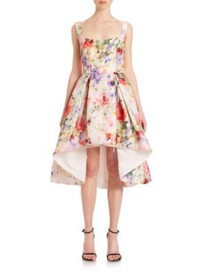 Floral Silk Hi-Lo Cocktail Dress