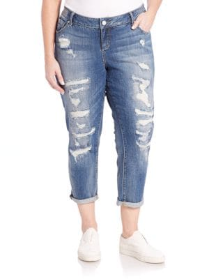 Rolled Boyfriend Jeans plus size,  plus size fashion plus size appare