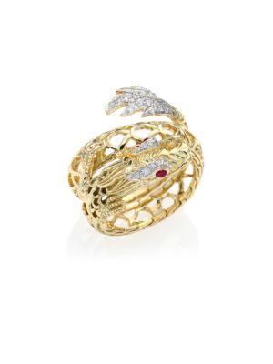 Legends Naga Diamond, Ruby & 18K Yellow Gold Coil Ring