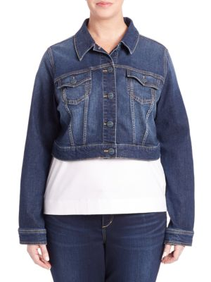 Cropped Jean Jacket plus size,  plus size fashion plus size appare
