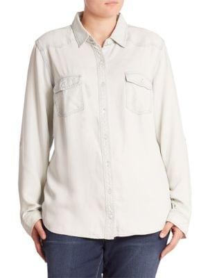 Washed Denim Shirt plus size,  plus size fashion plus size appare