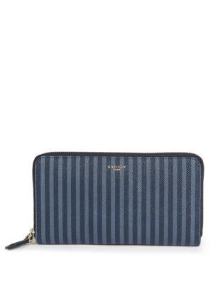 SLG Striped Leather Zip-Around Wallet