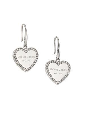 Heritage Pavé Heart Drop Earrings/Silvertone